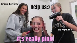 Dying my bestfriends hair PINK