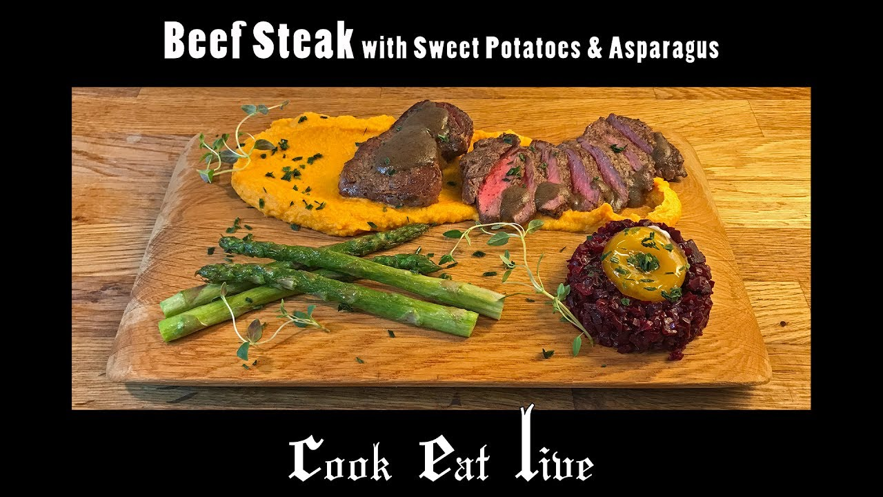 Cel Cook Eat Live Beef Steak With Sweet Potatoes And Asparagus
