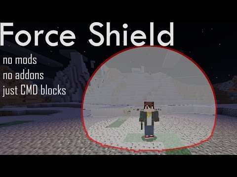 Make a force shield around you with command blocks in Minecraft PE