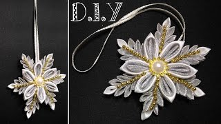 Floco de neve Kanzashi – MyInDulzens – Handmade Flower Craft