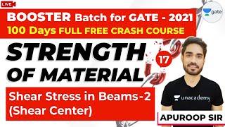 Shear Stress in Beams (Shear Center) - 2 | Strength Of Materials (SOM) | Lec 17 | GATE Crash Course