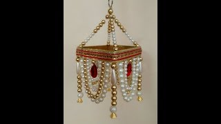How to make a Jhoomar, DIY Easy Pearl Chandelier, Pearl Wall Hanging,