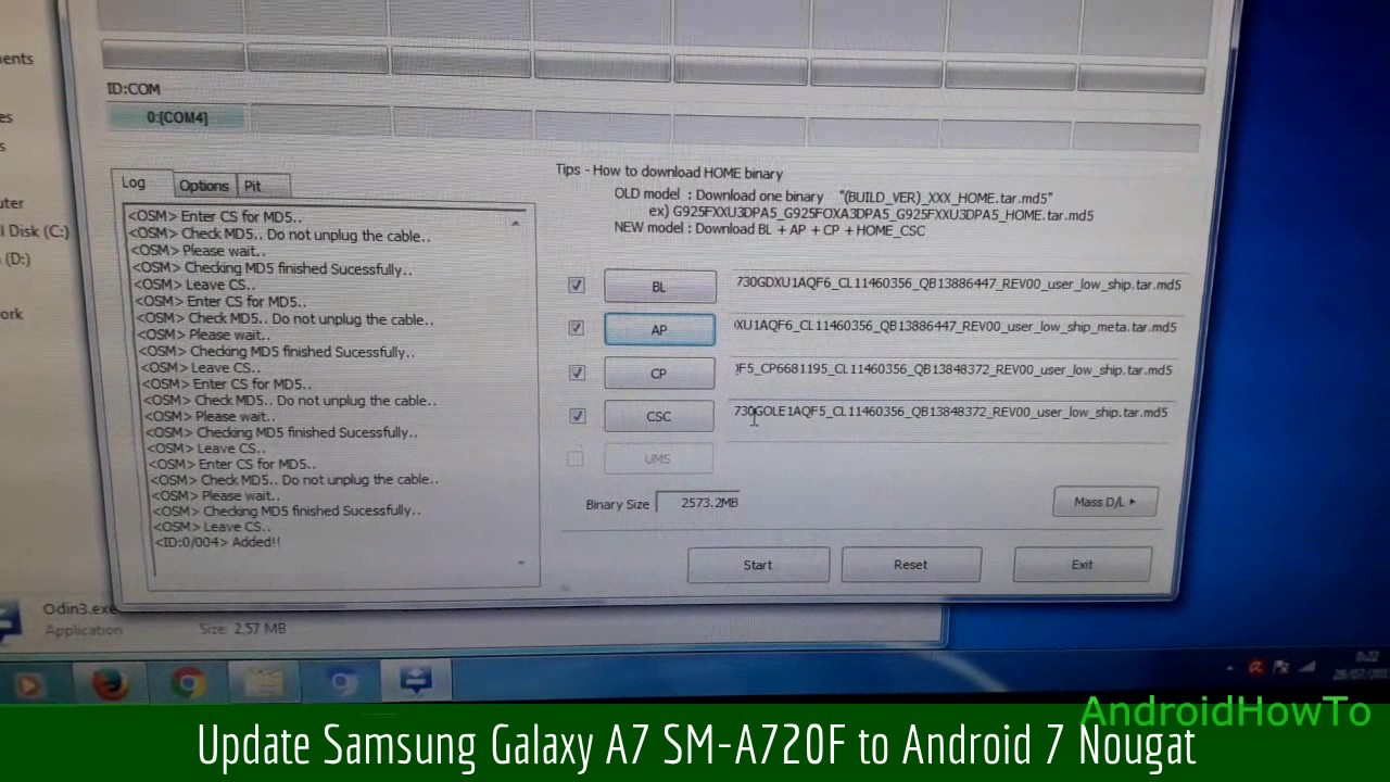Update Samsung Galaxy A7 SM-A720F to Android 7 Nougat