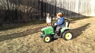 """""TRACTOR TIPPIN"""""" 3 YEAR OLD ON MODIFIED POWER WHEELS ""18V MA"