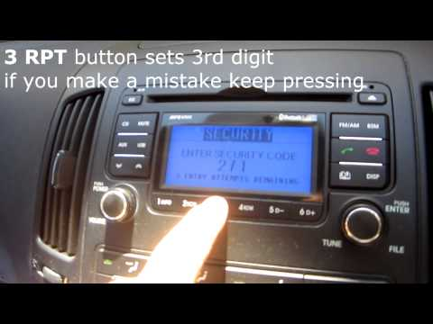 Setting the Radio code on a Hyundai I30