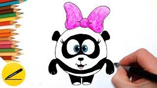 Как Нарисовать Смешарика Панди поэтапно - Учимся рисовать Смешариков