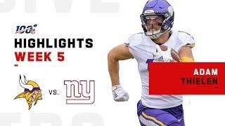 Adam Thielen Burns the Giants for 130 Yds & 2 TDs | NFL 2019 Highlights