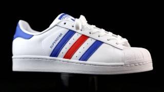 estático Ups Frustrante  Adidas Originals Superstar en blanco combinado con azul y rojo. - YouTube
