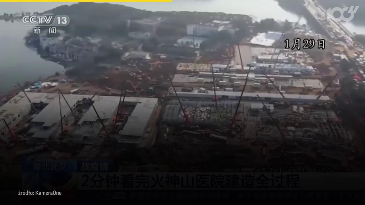 Koronawirus z Chin. Błyskawiczna budowa szpitala w Wuhan - TIMELAPSE | Onet100