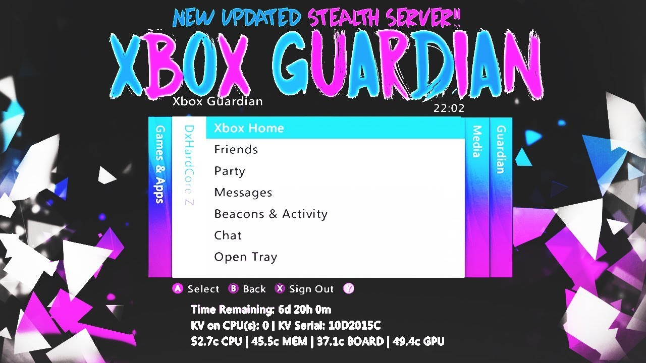 NEW UPDATED!!! XBOX GUARDIAN STEALTH SERVER 17526   1 MONTH KV LIFE + GTA 5  MOD MENU   JTAG/RGH ONLY