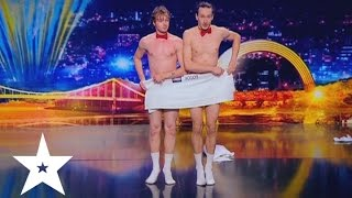 Two naked guys danced with towels on Ukraine's got talent