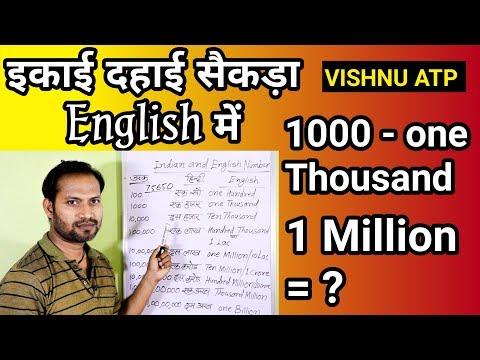 इकाई दहाई सैकड़ा हजार इन इंग्लिश || hundred thousand lakh crore million spelling🔥