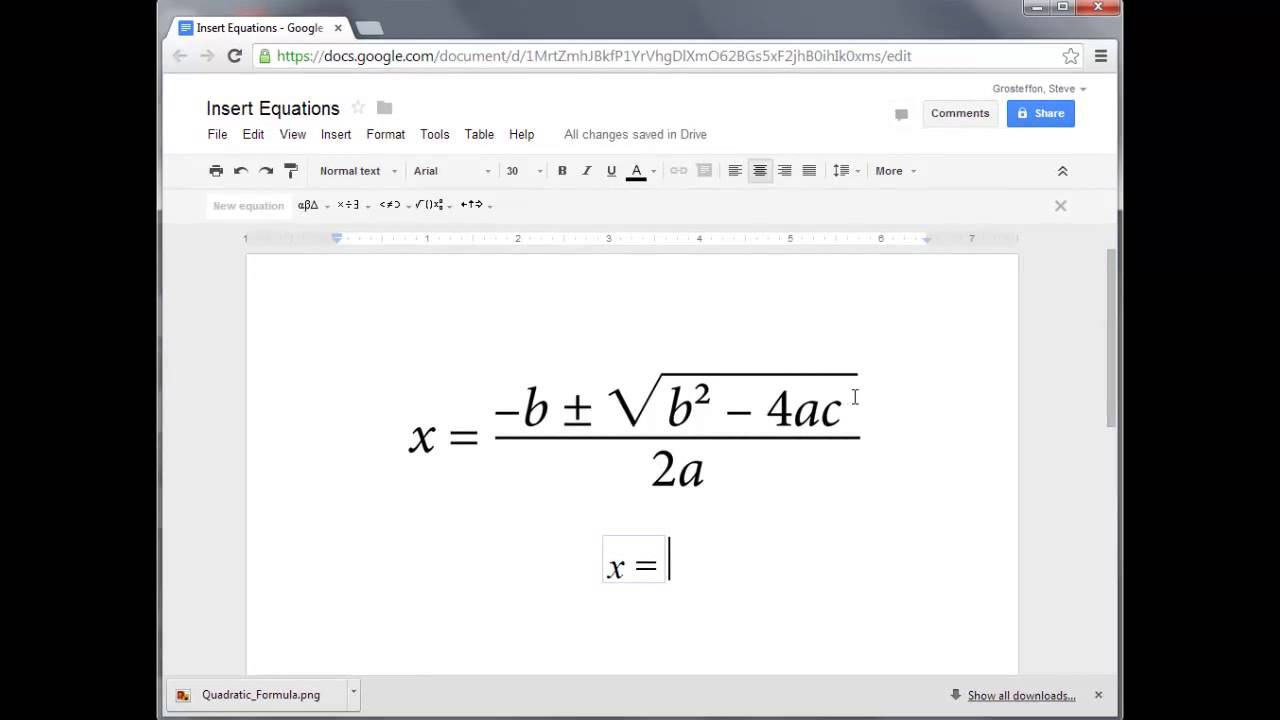 how to insert equations into google docs youtube