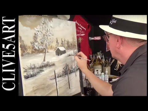 Winter Cabin | Bob Ross style | You Can Paint Along | Acrylic painting