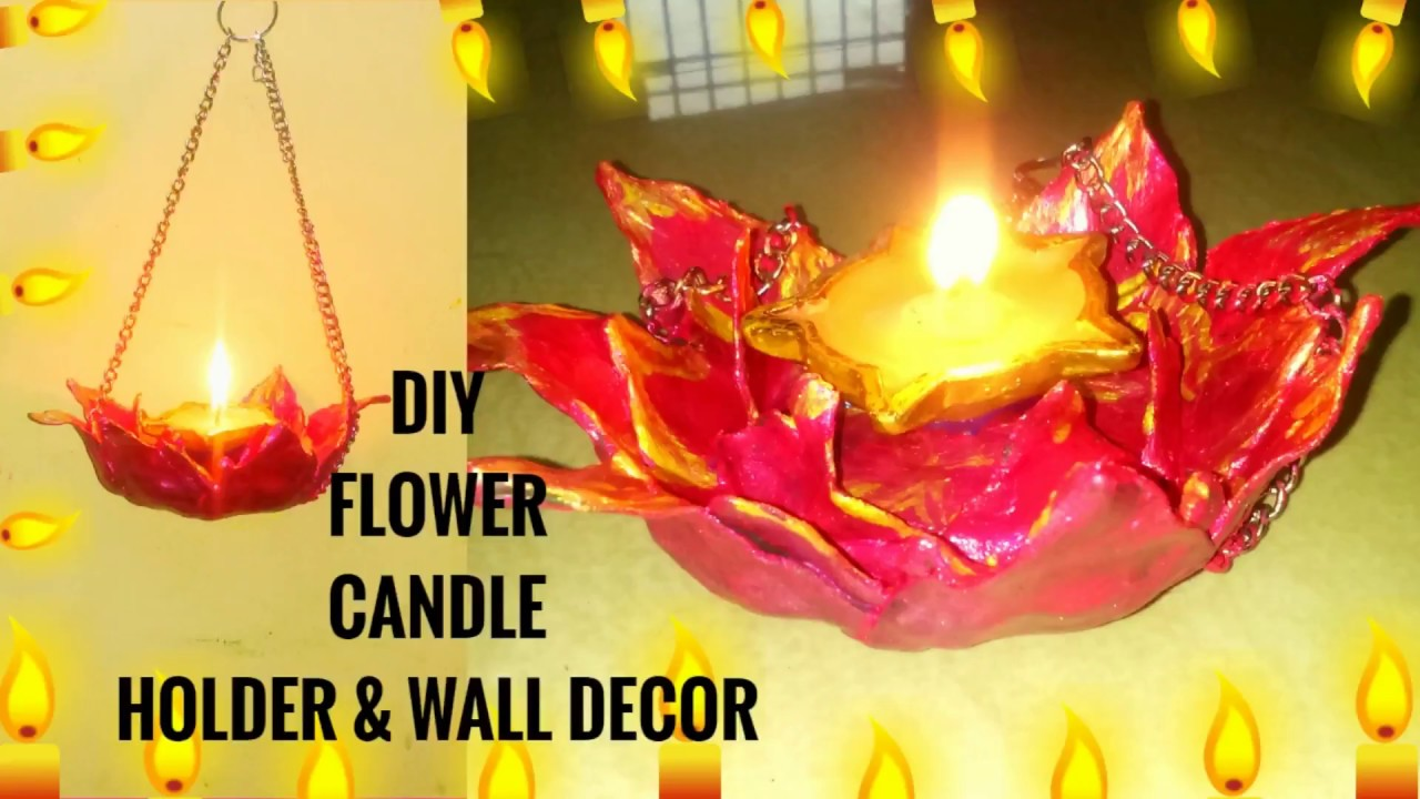 DIY FLOWER CANDLE HOLDER & WALL DECOR - YouTube