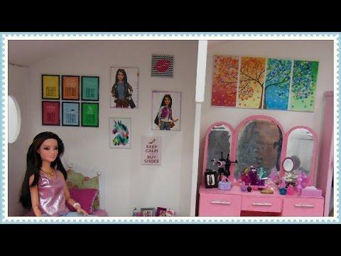 Quadros para casa da barbie diy youtube - Casa para barbies ...