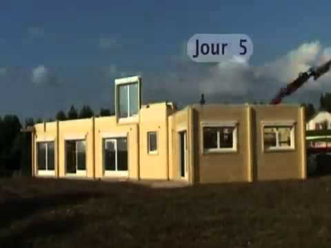 montage d 39 une maison bois r alis e par constructions chauvin youtube. Black Bedroom Furniture Sets. Home Design Ideas