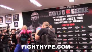 MIGUEL COTTO SHOWS OFF COMBINATIONS ON THE MITTS AHEAD OF DANIEL GEALE CLASH