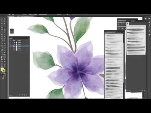 Как нарисовать с помощью акварельных кистей в Adobe Illustrator.