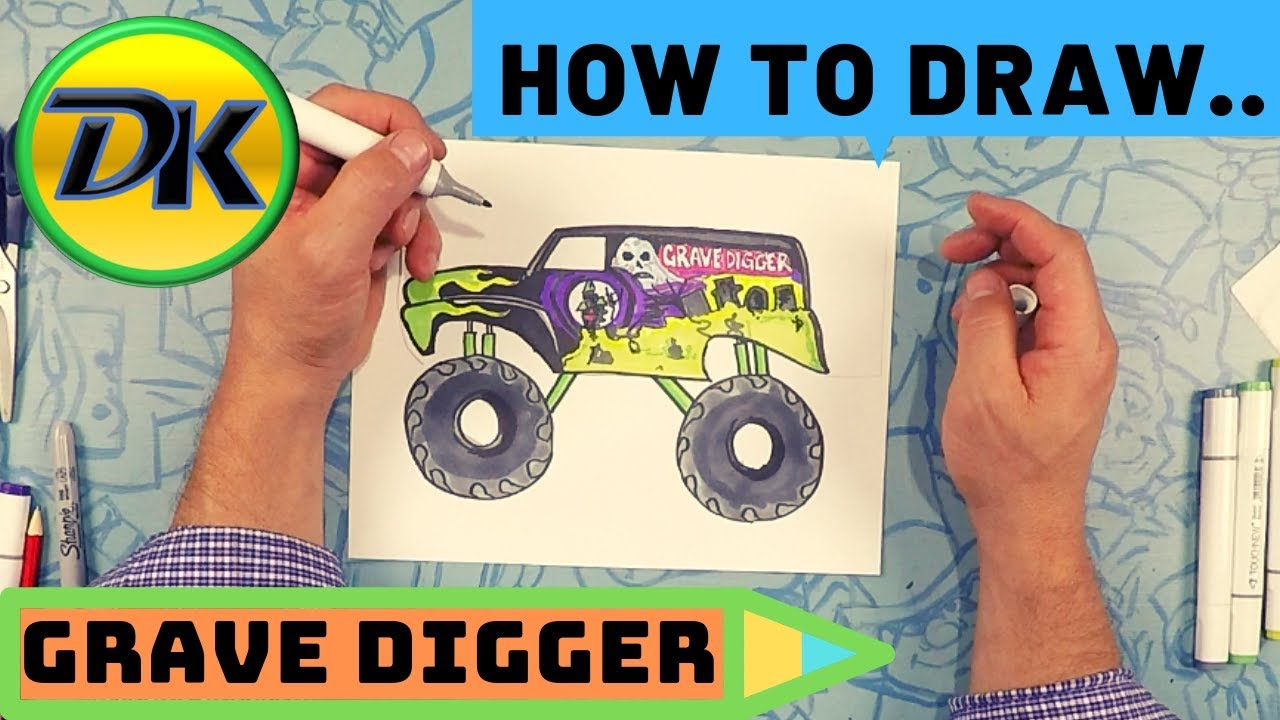 How To Draw Grave Digger Youtube
