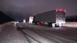 Icy and dangerous road conditions on I-90 highway