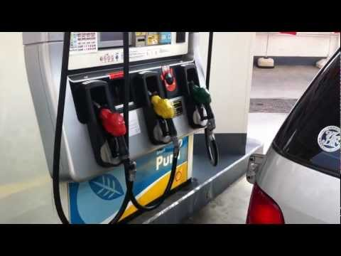 How to tell which is diesel!  Self Serve Gas Stand Tokyo Japan