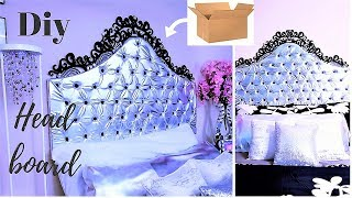 DIY QUICK AND EASY HEADBOARD USING BOXES  INEXPENSIVE ROOM DECORATING IDEA 2019