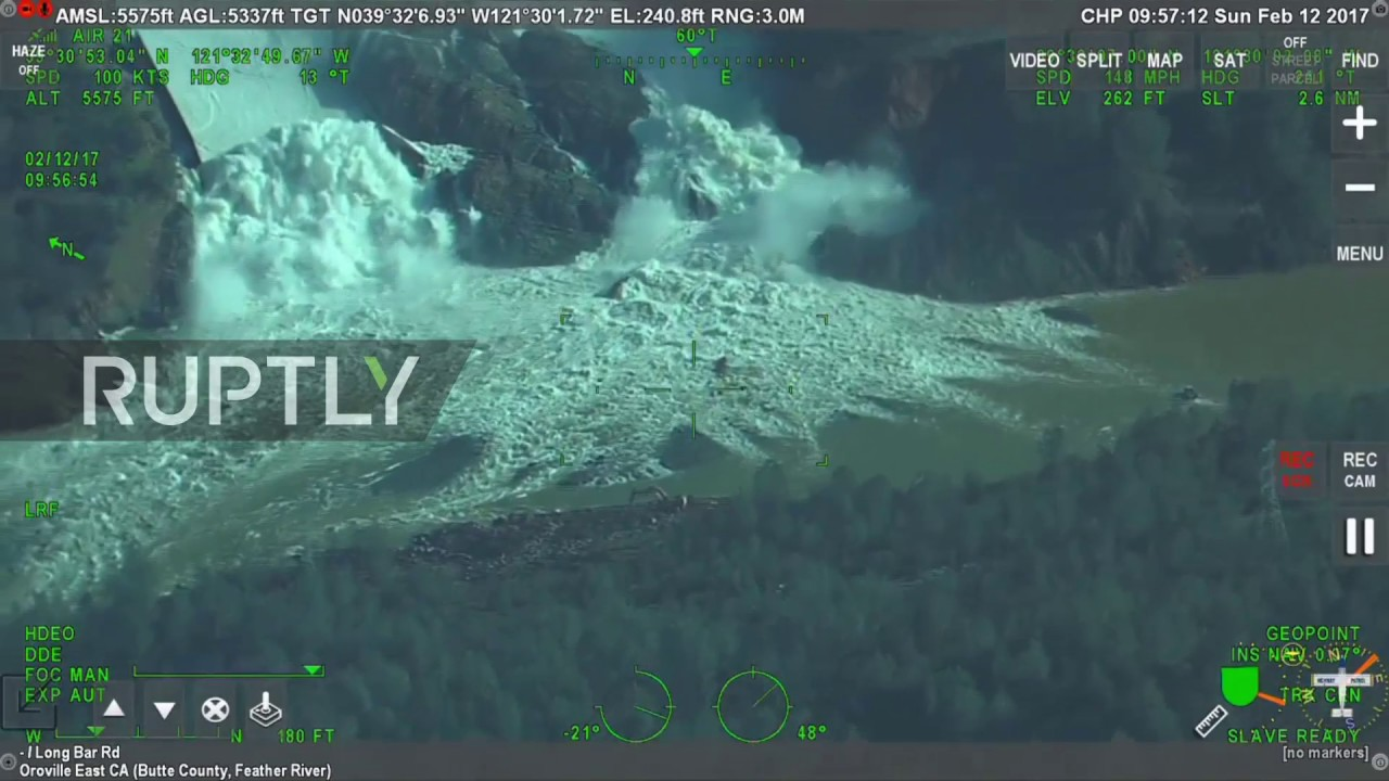 USA: Aerial footage captures Oroville spillway crisis as authorities