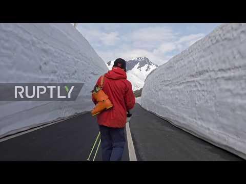 Skiers jump mesmerising SNOW WALLS at French-Italy border