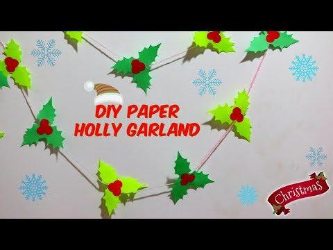Christmas DIY | Paper Holly Garland