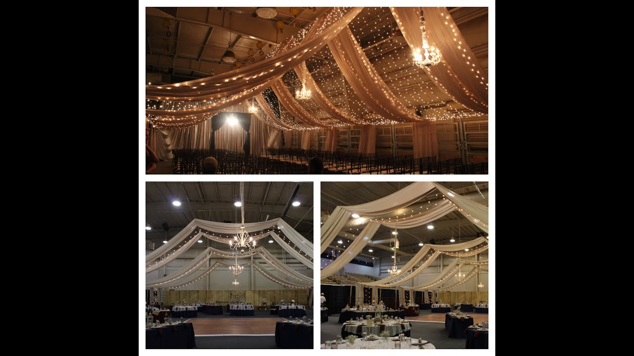 Ceiling Draping for Wedding 9-25-15 - YouTube
