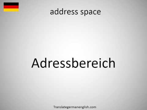 How to say address space in German?