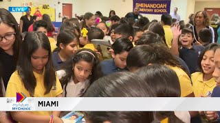 Students show their excitement for Local 10's 'Big Book Drive'