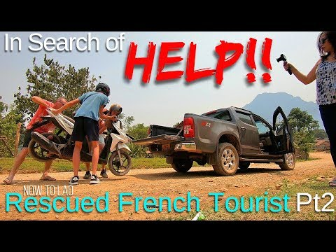 Travel Laos: Rescued Frenchman in VangVieng Mountains Pt2 - Sugar Cane Kids - Now to Lao travel vlog