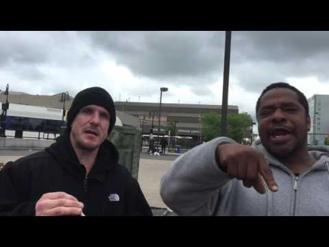 Two articulate and angry homeless men in Camden NJ