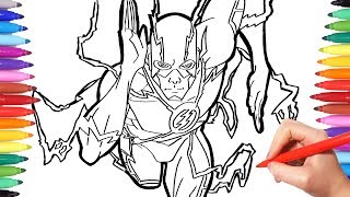 Superheroes Coloring Pages | Watch How to Draw Flash | The Flash Justice League Coloring Book