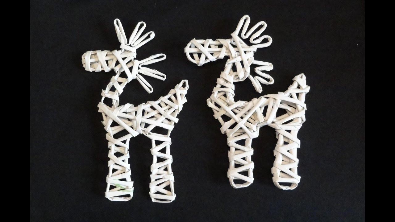 deb3e896a1ebb7 Papierowa wiklina - jak zrobić renifera z papierowej wikliny / reindeer of  wicker paper - YouTube