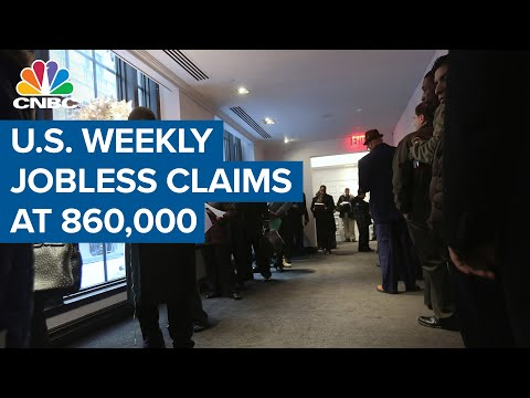U.S. weekly jobless claims total 860,000, vs 875,000 expected