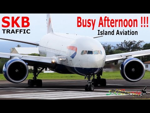 Busy Afternoon !!! BA 777-200 - AA 737-800 - UA 737-800 - AA A320 - DA A320....@ St. Kitts Airport