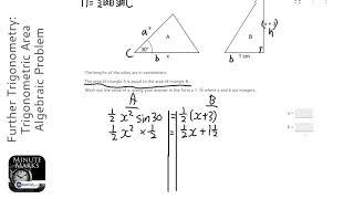 Further Trigonometry: Trigonometric Area Algebraic Problem (Grade 7) - OnMaths GCSE Maths Revision
