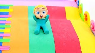 Slide playground 💕Superhero Play Doh Stop motion cartoons for kids