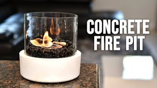 Table top FIRE PIT ( indoor outdoor concrete & glass fire pit ) w/ Bio Ethanol Fuel