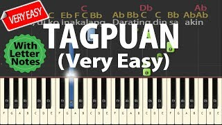 [VeryEasy+W/ LetterNotes] TAGPUAN - Moira Dela Torre  || Synthesia Piano Tutorial