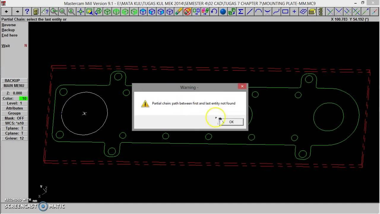 master cam part 1 tutorial mill tugas 8 youtube rh youtube com Mastercam X5 Espanol Mastercam X7 3D