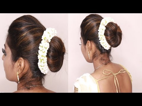 South indian wedding guest hairstyles Tamil | Puff with bun hairstyles | puff hairstyle tricks thumbnail