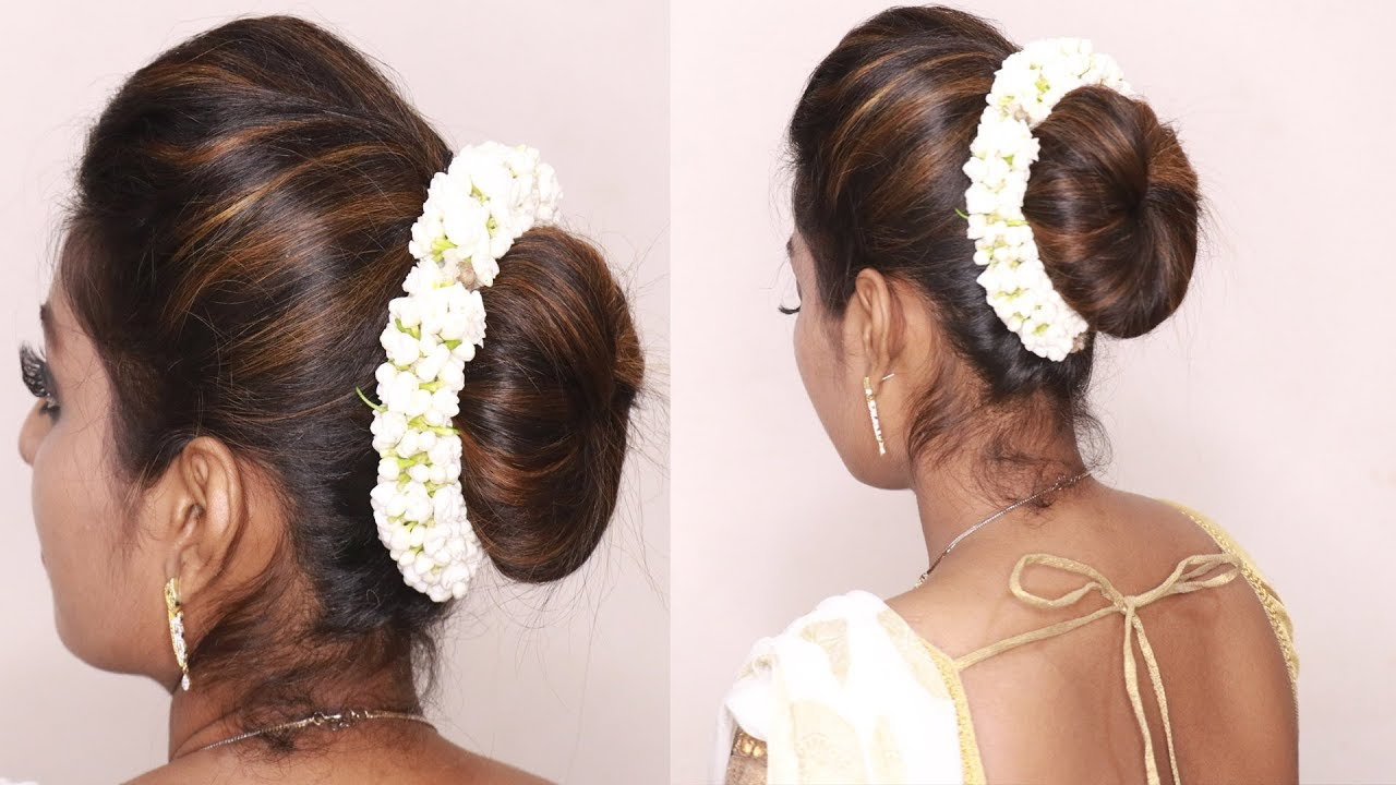 South Indian Wedding Guest Hairstyles Tamil Puff With Bun Hairstyles Puff Hairstyle Tricks