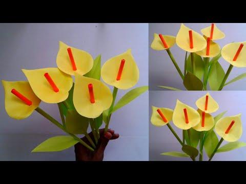 DIY Paper Anthuurium Flower | Home Decoration Idea || SUNIL CREATION
