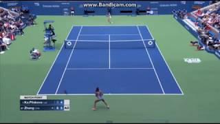 Karolina Pliskova saving Match Point against Zhang Shuai