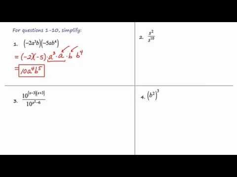 MathCamp321: Algebra 2 - Monomials/Rules Of Exponents (part 1)