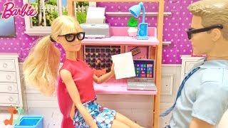 バービーのオフィスセットで遊びました。会社ごっこをして お仕事をしま...